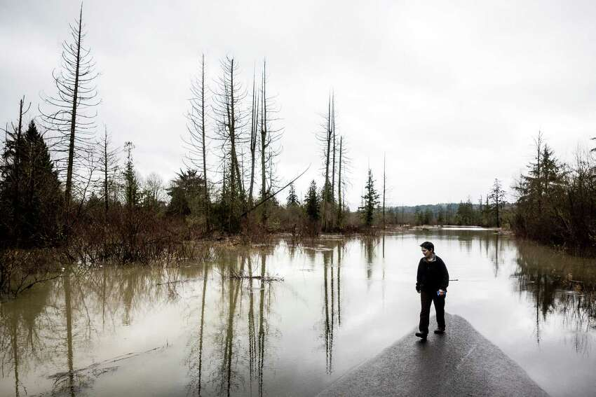 Carnation resident Diana Kaspic watches water slow creep toward her driveway over a washed out road on Monday, January 5, 2015, in Carnation, Washington. Floods and landslides closed several roads and forced evacuations across Western Washington following a heavy storm in the early morning.