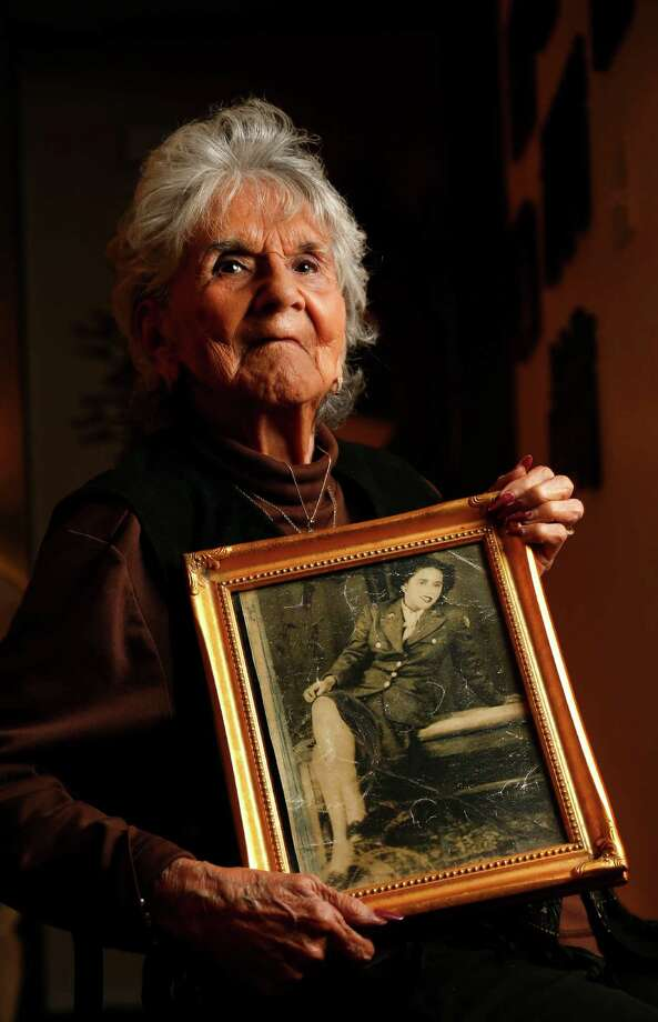 """Mercedes Flores, 92, entered the military in 1943 and was tasked with recruiting a """"squadron"""" of Hispanic women from across South Texas for the war effort. Photo: Karen Warren, Staff / © 2014 Houston Chronicle"""