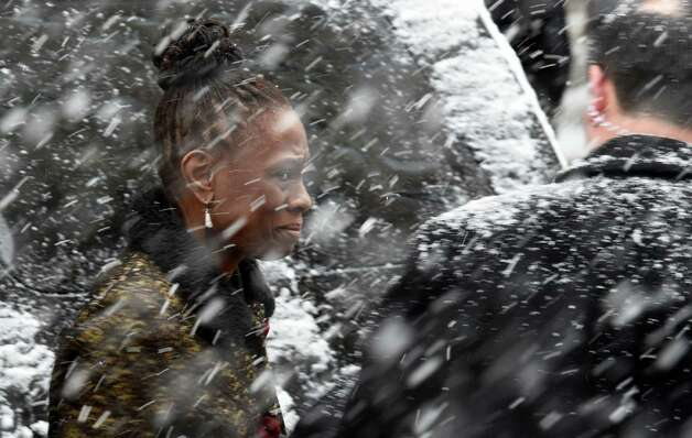 Chirlane McCray, wife of New York City Mayor Bill de Blasio arrives for the funeral of former Governor Mario M. Cuomo Tuesday morning, Jan. 6, 2015, at St. Ignatius Loyola Church in New York City, N.Y.  (Skip Dickstein/Times Union) Photo: SKIP DICKSTEIN / 00030083A