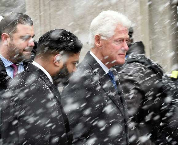 Former President Bill Clinton arrives for the funeral of former Governor Mario M. Cuomo Tuesday morning, Jan. 6, 2015, at St. Ignatius Loyola Church in New York City, N.Y. (Skip Dickstein/Times Union) Photo: SKIP DICKSTEIN / 00030083A