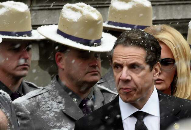 Governor Andrew Cuomo and girlfriend, Sandra Lee, arrive for the funeral of his father, former Governor Mario M. Cuomo, Tuesday morning, Jan. 6, 2015, at St. Ignatius Loyola Church in New York City, N.Y.  (Skip Dickstein/Times Union) Photo: SKIP DICKSTEIN / 00030083A