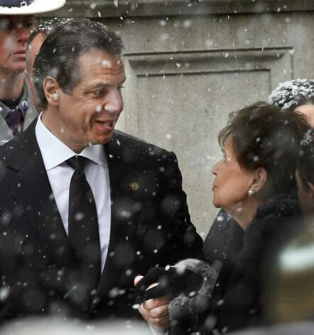 Gov. Andrew Cuomo gives his mother, Matilda Cuomo, a comforting smile as they arrive for the funeral of his father, former Governor Mario M. Cuomo, at St. Ignatius Loyola Church Tuesday morning, Jan. 6, 2015, in New York City, N.Y. (Skip Dickstein/Times Union) Photo: SKIP DICKSTEIN / 00030083A