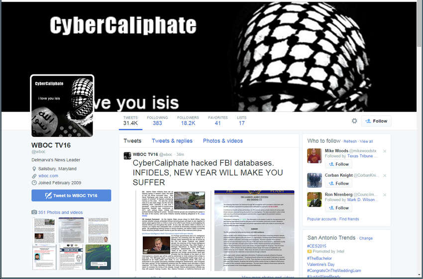 WBOC-TV in Maryland was also hacked by what looks like the same group. Screen captures of tweets sent out Tuesday, January 6, by WBOC-TV in Maryland, whose Twitter account was hacked by people who appear to be supporters of the Islamic State.
