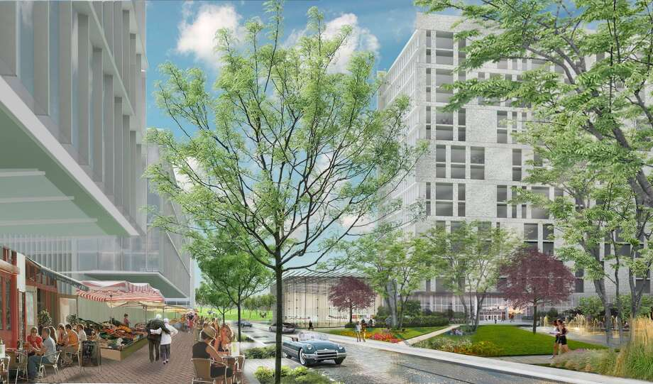 Rendering of the Ivy District, planned for a Pearland site at Texas 288 and Beltway 8. It will include residential, office and retail, as well as a hotel, conference center and community building. Photo: American Modern Green / ONLINE_YES