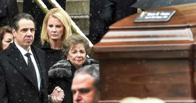Gov. Andrew Cuomo, left, assists his mother, Matilda Cuomo, from the church as the casket of former Gov. Mario M. Cuomo leaves St. Ignatius Loyola Church Tuesday afternoon Jan. 6, 2015 in New York City, N.Y.       (Skip Dickstein/Times Union) Photo: SKIP DICKSTEIN / 00030083A