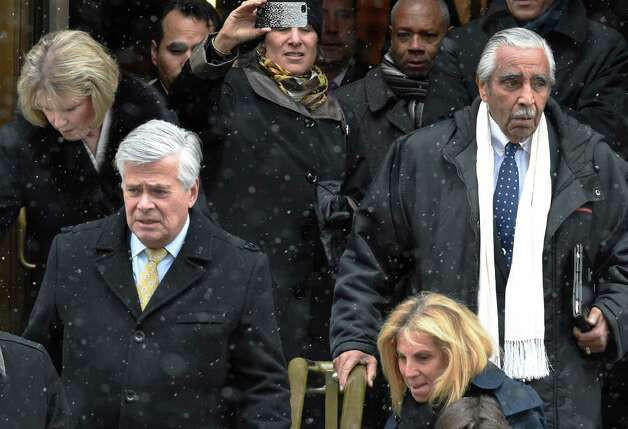 State Sen. Dean Skelos, left, and Congressman Charles Rangel leave the church after the funeral of former Gov. Mario M. Cuomo at St. Ignatius Loyola Church Tuesday afternoon Jan. 6, 2015 in New York City, N.Y.       (Skip Dickstein/Times Union) Photo: SKIP DICKSTEIN / 00030083A