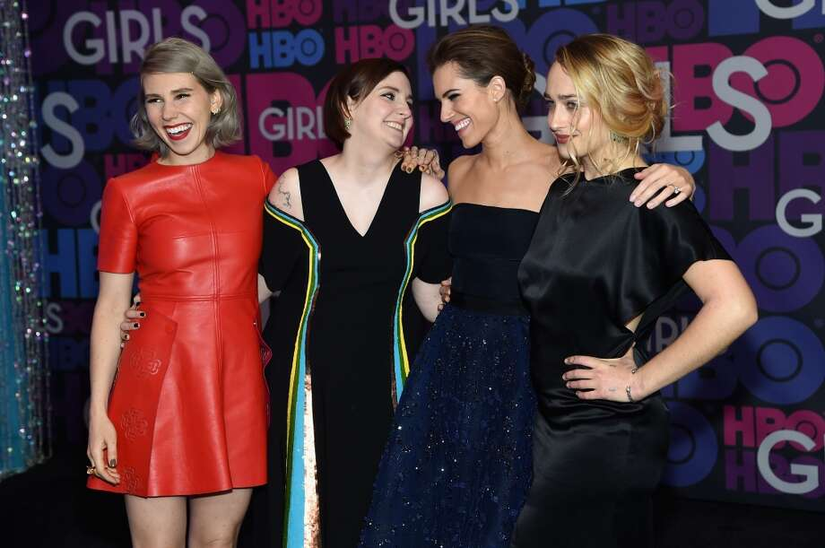 """(L-R): Actors Zosia Mamet, Lena Dunham, Allison Williams and Jemima Kirke attend the """"Girls"""" season four series premiere at American Museum of Natural History on January 5, 2015 in New York City. Photo: Jamie McCarthy, Getty Images"""