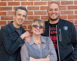 "KFOG's morning crew: ""Irish Greg"" McQuaid (left), Renee Richardson and Mike ""No Name"" Nelson."