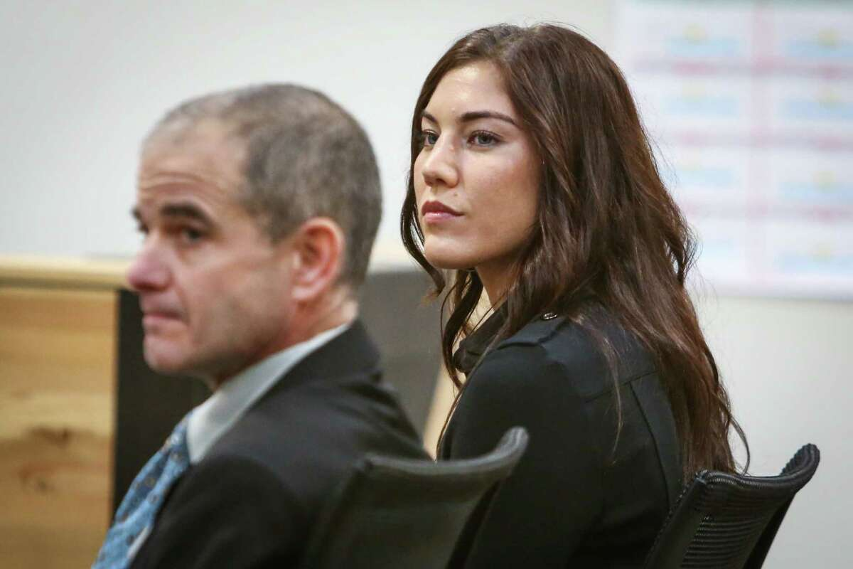 Hope Solo listens in the courtroom of Judge Michael Lambo during a court hearing on Jan. 6, 2015 at Kirkland Municipal Court. Solo was accused of assaulting family members at her home in Kirkland.