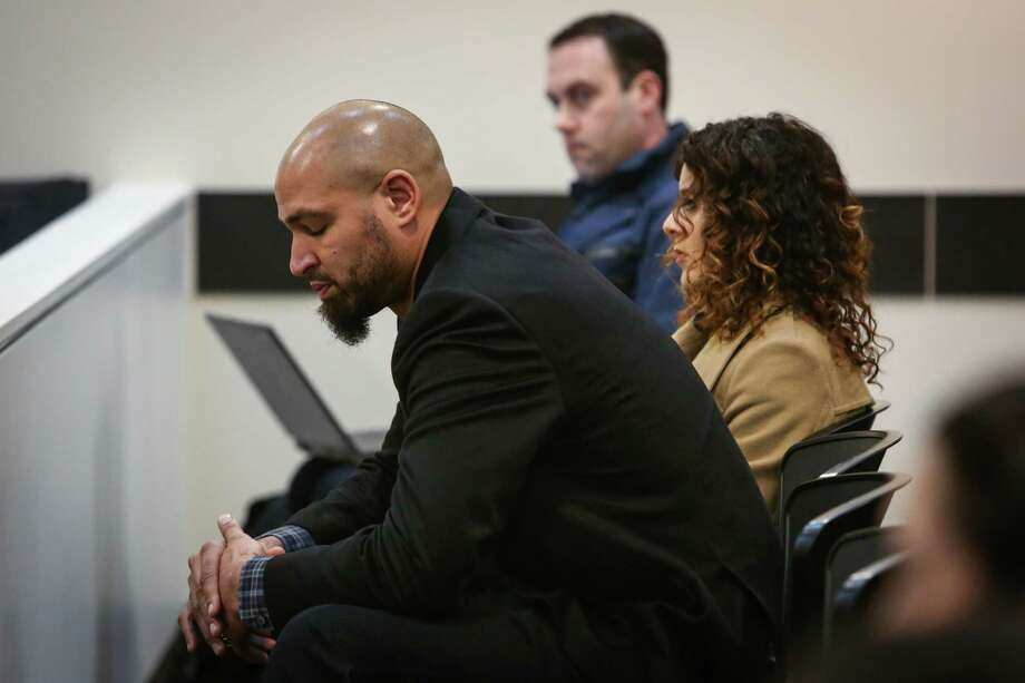 Jerramy Stevens reacts during a hearing for his wife Hope Solo in the courtroom of Judge Michael Lambo on January 6, 2015 at Kirkland Municipal Court. Solo has been accused of assaulting family members at her home in Kirkland. Photo: JOSHUA TRUJILLO, SEATTLEPI.COM / SEATTLEPI.COM
