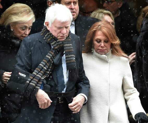 TV personality Phil Donohue and his wife Marlo Thomas leave the church after the funeral service of former Governor Mario M. Cuomo at St. Ignatius Loyola Church Tuesday afternoon Jan. 6, 2015 in New York City, N.Y.       (Skip Dickstein/Times Union) Photo: SKIP DICKSTEIN / 00030083A