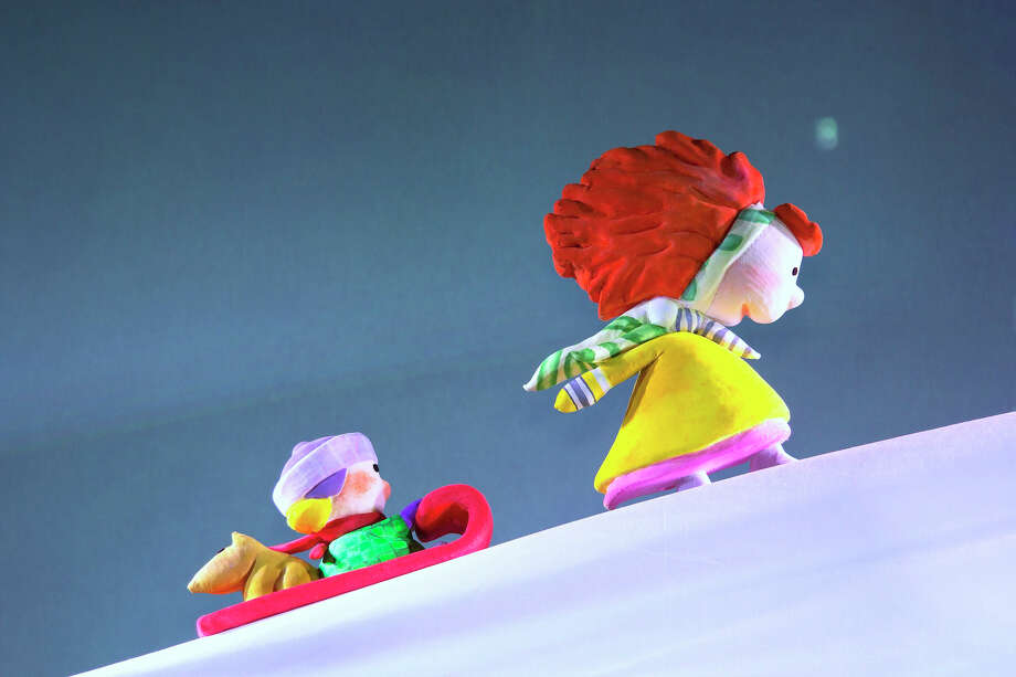 """A close up view of Stella and her little brother Sam in a scene from """"Stella, Queen of the Snow,"""" a one-hour puppet show at the Westport Country Playhouse On Sunday, Jan. 18. The show is suitable for children ages three to seven, the Playhouse said. Westport CT. January 2015. Photo: Westport News/Contributed Photo / Westport News"""