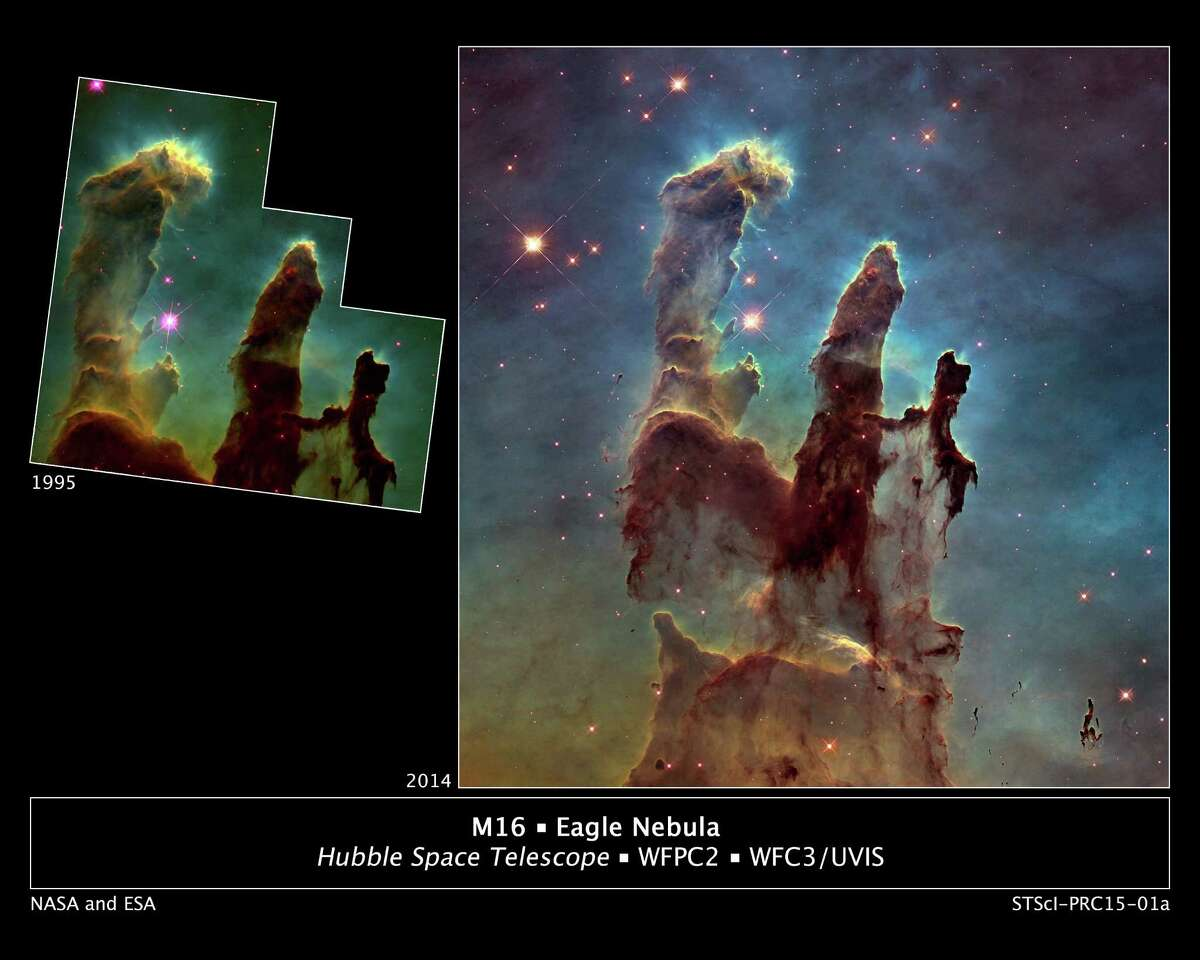 M16, Eagle Nebula 1995 vs. 2015 The photo on the left was taken in 1995. It revealed never-before-seen details of three giant columns of cold gas from a cluster of massive stars The photo on the right is a recent photo of the Nebulain celebration of its upcoming 25th anniversary of orbit. light. Source: HubbleSite