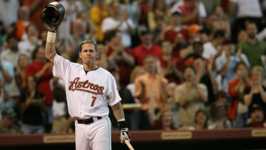 Craig BiggioHall of Fame cap: Houston AstrosHouston years: 1988-2007Biggio and Bagwell are two of just 49 players in the Hall of Fame who played their entire career with one team. He was the first player in history with at least 3,000 hits, 600 doubles, 400 stolen bases and 250 home runs.