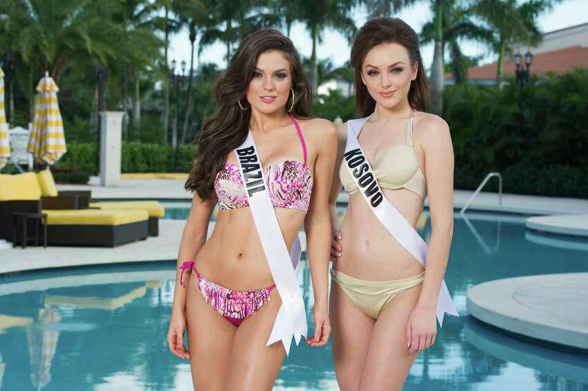 Melissa Gurgel, Miss Brazil 2014; and Artnesa Krasniqi, Miss Kosovo 2014.