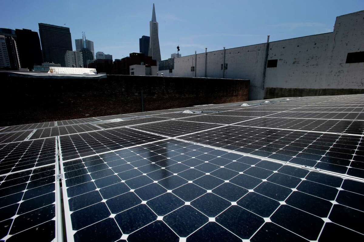 State-of-the-art solar panels pick up the afternoon sun on the rooftop of DPR Construction in San Francisco, which has moved into the first