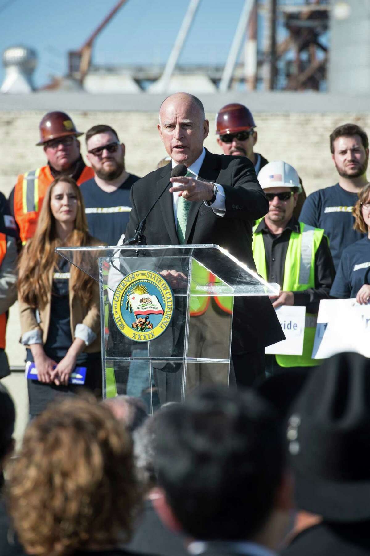 Gov. Jerry Brown at ground breaking for the California High Speed Rail Project.