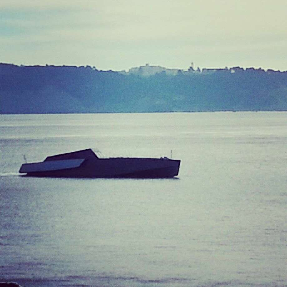 A sleek, dark gray boat, believed to be the 118-foot-long Galeocerdo, was seen anchored over the weekend off Sausalito. (Photo courtesytedjocsonphoto.com)
