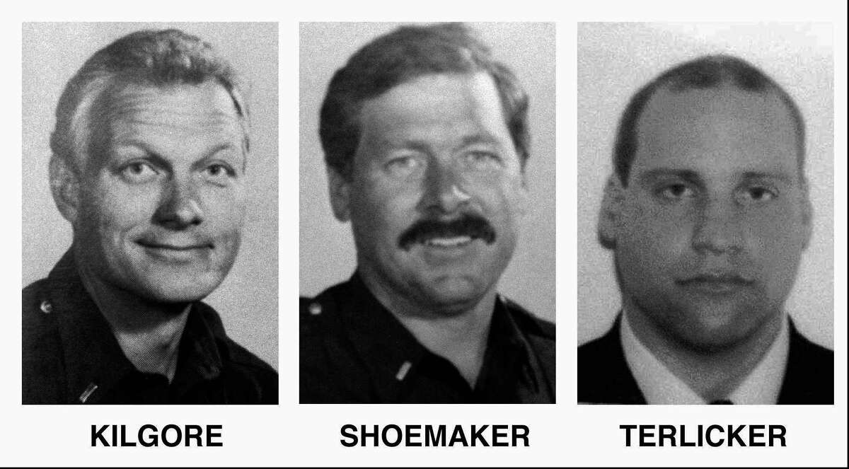 These are variously dated handout photos of Seattle firefighters Lt. Walter D. Kilgore, 45, left, Lt. Gregory M. Shoemaker, 43, center, Firefighter Randall R. Terlicker 35, right, who were killed in a warehouse fire Thursday, Jan. 5, 1995 in Seattle. A fourth firefighter James T. Brown, 25, was also killed in the fire.