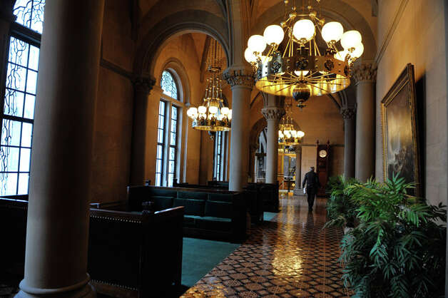 A man makes his way through the State Senate lobby at the Capitol on Monday, Jan. 5, 2015, in Albany, N.Y.  (Paul Buckowski / Times Union) Photo: Paul Buckowski, Albany Times Union / 00030082A