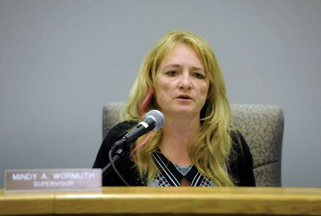 Town of Halfmoon Supervisor Mindy Wormuth during the town board meeting on  Wednesday Oct. 2, 2013 in Halfmoon, N.Y. (Michael P. Farrell/Times Union) Photo: Michael P. Farrell / 00024084A