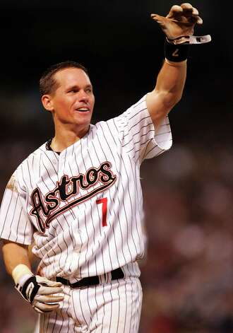 FILE - JANUARY 6, 2015: It was reported that Pedro Martinez, Randy Johnson, John Smoltz and Craig Biggio were elected into the National Baseball Hall of Fame January 6, 2015. HOUSTON - JUNE 28:  Second baseman Craig Biggio #7 of the Houston Astros reacts after getting his 3,000th career hit against the Colorado Rockies in the 7th inning on June 28, 2007 at Minute Maid Park in Houston, Texas.  (Photo by Ronald Martinez/Getty Images) ORG XMIT: 503816483 Photo: Ronald Martinez / 2007 Getty Images