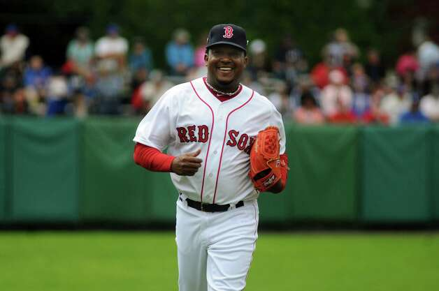 Pedro Martinez of the Boston Red Sox during the sixth annual Hall of Fame Classic baseball game on Saturday, May 24, 2014, at Doubleday Field in Cooperstown, N.Y. (Cindy Schultz / Times Union) Photo: Cindy Schultz / 00027031A