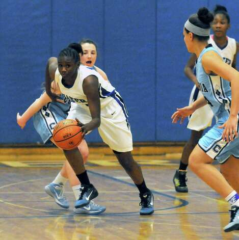 Shaker's CeCe Mayo gets a steal during their girl's high school basketball game against Columbia on Tuesday Jan. 6, 2015 in Latham, N.Y. (Michael P. Farrell/Times Union) Photo: Michael P. Farrell / 00030069A