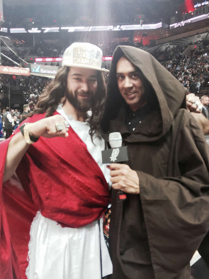 Spurs Jesus takes selfies with other fans and captures the atmosphere on 'Star Wars' night at the Spurs-Pistons game on Tuesday, Jan. 6, 2015. Photo: Spurs Jesus/For MySA.com