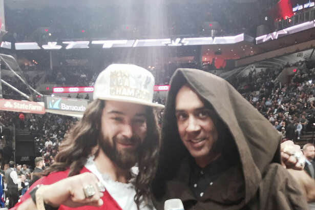 Spurs Jesus takes selfies with other fans and captures the atmosphere on 'Star Wars' night at the Spurs-Pistons game on Tuesday, Jan. 6, 2015.