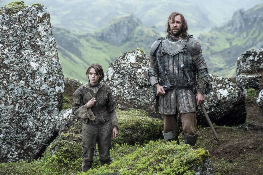 """The final two episodes of Season 4 of """"Game of Thrones,"""" which stars Maisie Williams, left, and  Rory McCann, will be shown along with a trailer for Season 5 at 150 Imax theaters. Photo: HELEN SLOAN"""