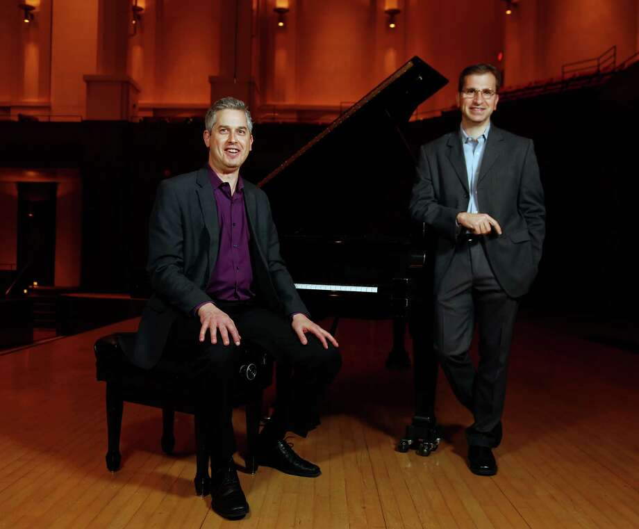 Composers Anthony Brandt left, and Karim Al-Zand have written new pieces that will premiere in a concert by the new-music group Musiqa. Photo: James Nielsen, Staff / © 2014  Houston Chronicle