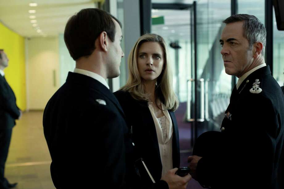 "Jonny Sweet, left, plays a weak aide, Brit Marling is a public-relations whiz and James Nesbitt is the chief constable at Scotland Yard in ""Babylon."" Photo: Sundance TV / ONLINE_YES"