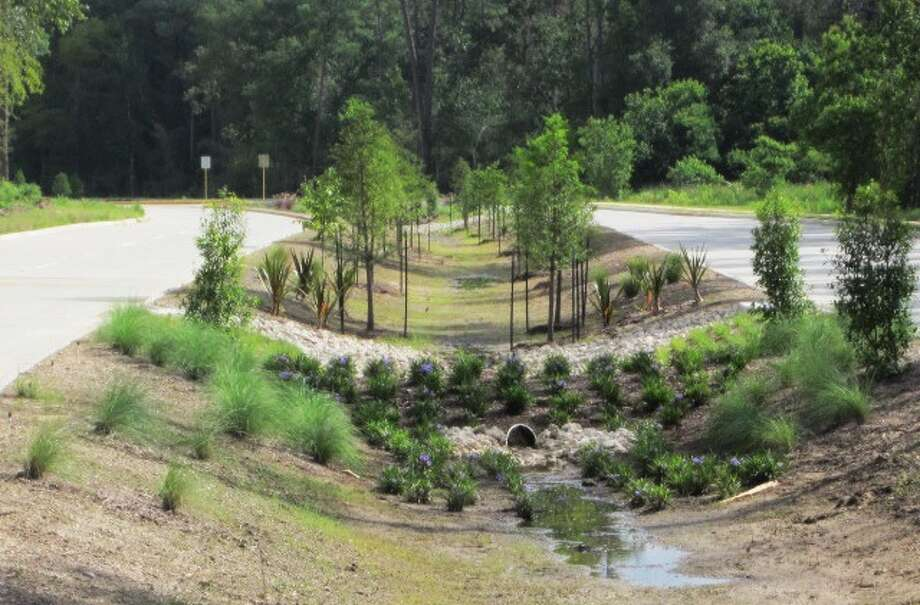 The bioswale provides on-site detention during major rain events, eliminating the need to build off-site detention facilities.