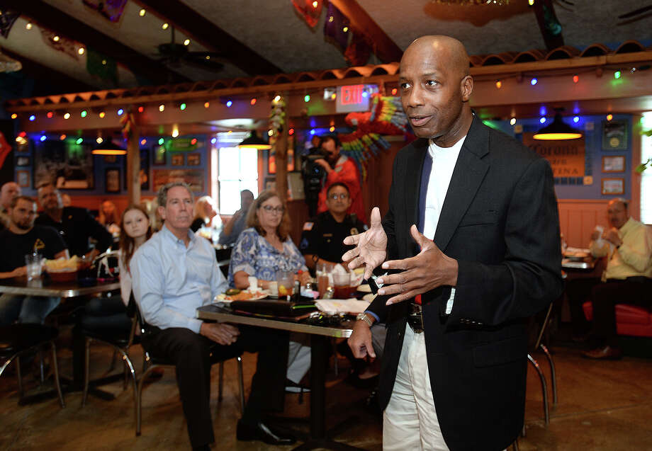 James White talks about firearm laws during an open discussion about open carry laws at the Press Club of Southeast Texas' meeting on Thursday.  