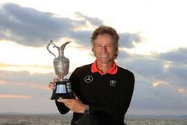 Bernhard Langer of Germany poses with the trophy after the final round of the Senior Open Championship played at Royal Porthcawl Golf Club on July 27, 2014 in Bridgend, United Kingdom.  (Photo by Phil Inglis/Getty Images)
