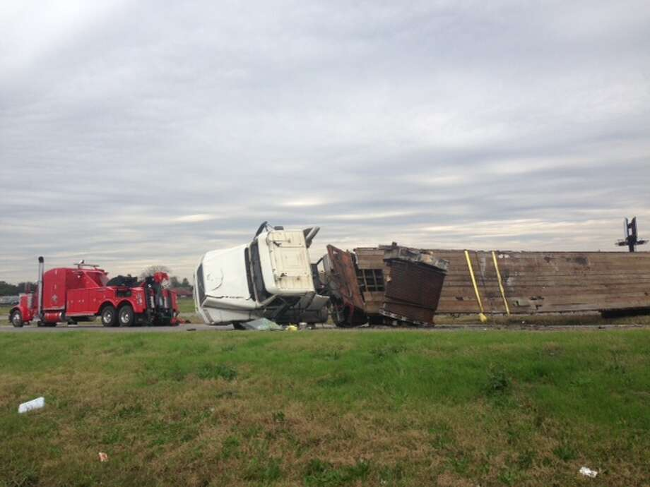 A one-vehicle crash involving a truck tractor semi-trailer closed TX 73 lanes for most of the day and caused extensive damage to the roadway. Lanes are now open. Photo: The Enterprise