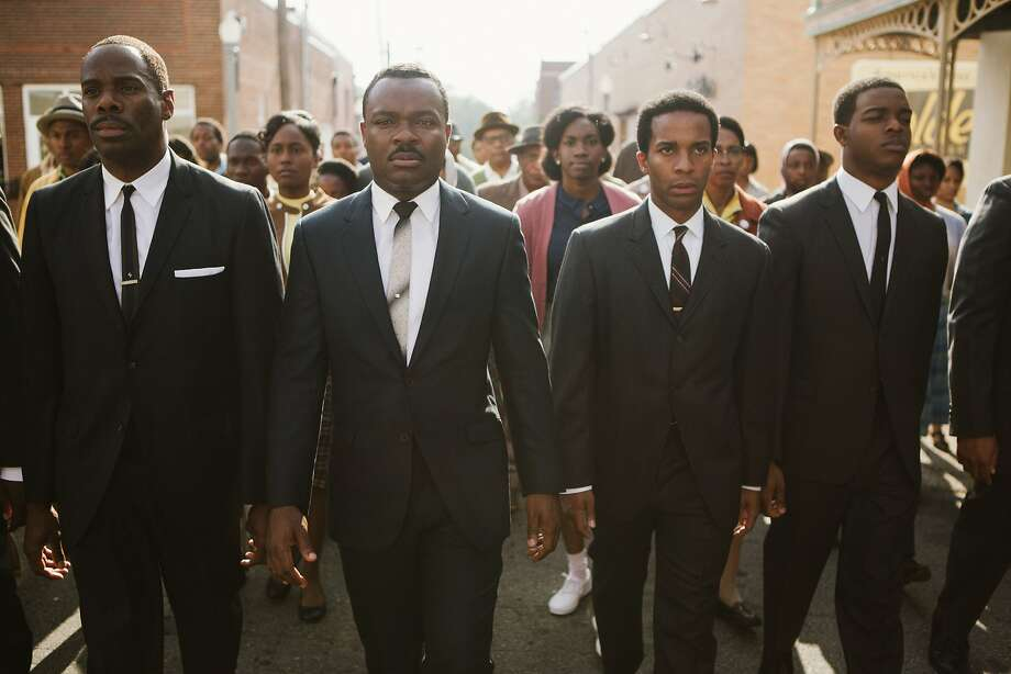 """This photo released by Paramount Pictures shows, from left, foreground: Colman Domingo as Ralph Abernathy, David Oyelowo as Dr. Martin Luther King, Jr., André Holland as Andrew Young, and Stephan James as John Lewis in a scene from the film, """"Selma,"""" from Paramount Pictures, Pathé, and Harpo Films. (AP Photo/Paramount Pictures, Atsushi Nishijima) Photo: Atsushi Nishijima, Associated Press"""