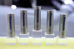 Lithium-ion batteries are displayed  at the Panasonic booth during the 2015 International CES at the Las Vegas Convention Center on January 6, 2015 in Las Vegas, Nevada. CES, the world's largest annual consumer technology trade show, runs through January 9 and is expected to feature 3,600 exhibitors showing off their latest products and services to about 150,000 attendees.