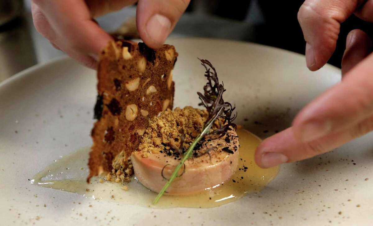 Foie gras torchon with jerk spices and guava jelly at Dirty Habit in San Francisco on Wednesday.