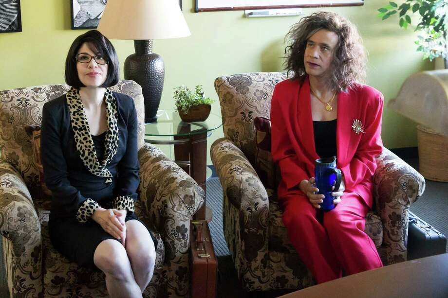 "Carrie Brownstein (left) and Fred Armisen in their hit show ""Portlandia,"" which is starting its fifth season. Guest stars include Paul Simon, Steve Buscemi, Justin Long, Paul Reubens and Olivia Wilde. Photo: Augusta Quirk/IFC / Associated Press / IFC"
