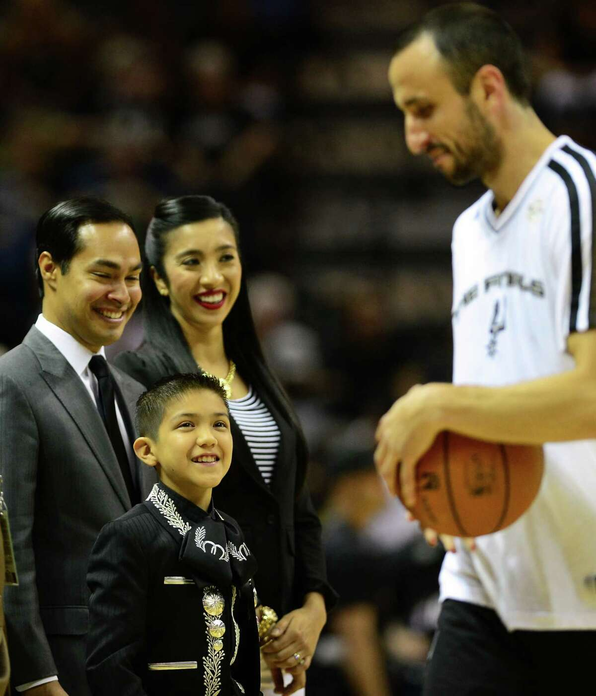 Sebastien De La Cruz, known as San Antonios Little Mariachi, is all smiles after Manu Ginobili of the San Antonio Spurs went to shake his hand prior to the start of Game 4 of the NBA Finals on June 13, 2013, in San Antonio.