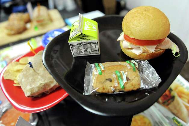 Jennie-O turkey sandwiches are on display at the Infusion Sales Group table during a school food fair on Wednesday, Jan. 7, 2015, at the Polish Community Center in Colonie, N.Y. (Cindy Schultz / Times Union) Photo: Cindy Schultz / 00030089A
