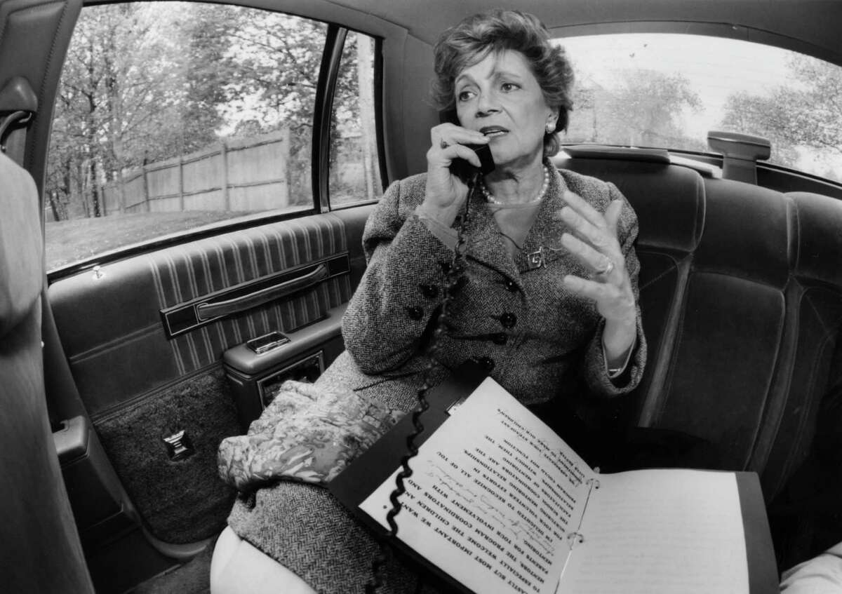 Matilda Cuomo, wife of former governor Mario Cuomo, conducts a radio interview over the telephone from the back seat of a state vehicle while making appearances in New York and Long Island, May, 18, 1994, in New York. (Luanne Ferris/Times Union archive)