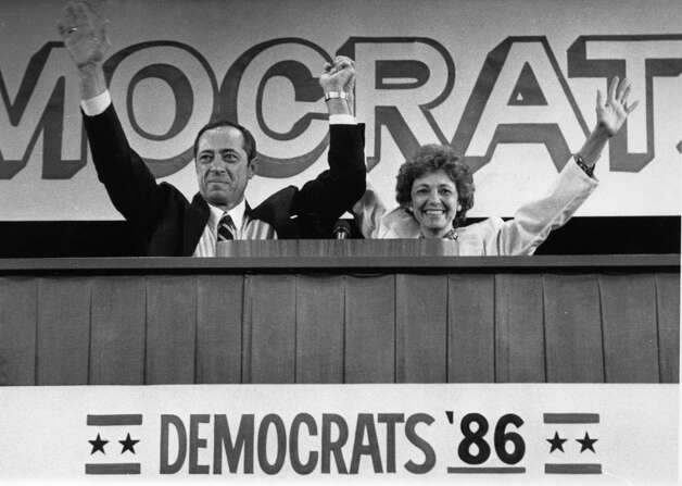 Gov. Mario Cuomo and wife, Matilda, wave to fellow Democrats during a state convention where he accepted the party's nomination to run for a second term, June, 2, 1986, in Albany, N.Y. (Skip Dickstein/Times Union archive)