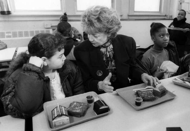 Matilda Cuomo, wife of former governor Mario Cuomo, speaks to Brittany Smith, 11, a 6th grade student from School 24, March 10, 1993, in Albany, N.Y. (Skip Dickstein/Times Union archive)