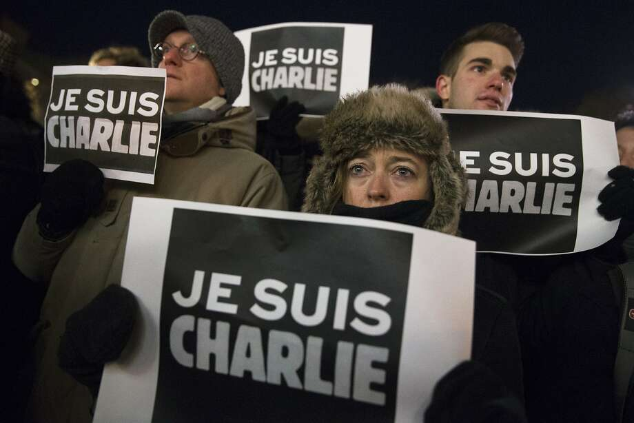 Mourners rally in support of Charlie Hebdo, at Union Square in New York. Photo: John Minchillo, Associated Press