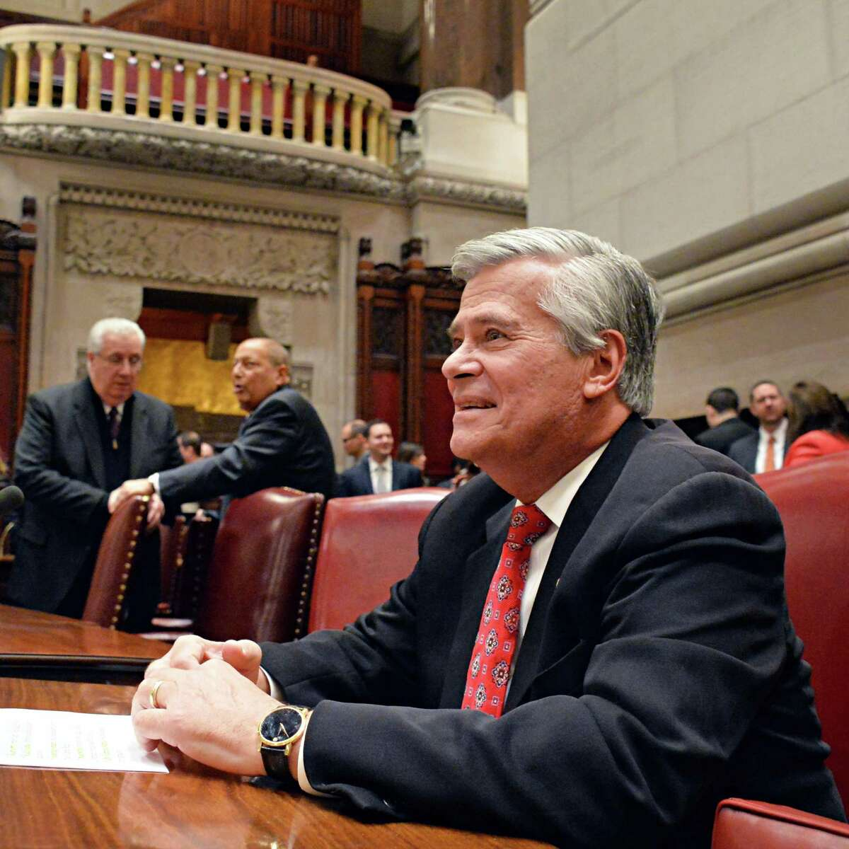 Sen. GOP leader Dean Skelos, during the Senate's first session of the new year Wednesday, Jan. 7, 2015, in Albany, N.Y. (John Carl D'Annibale / Times Union)