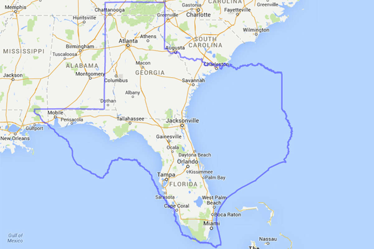 Texas would be able to fit much of Florida's peculiar form inside the state outline if it was kind enough to let bits of Georgia, South Carolina and Alabama in for whatever reason.
