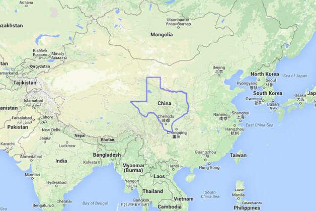 The United States would owe Texas $1.252 trillion if it were inside China.  Photo: MAPfrappe/Google Maps